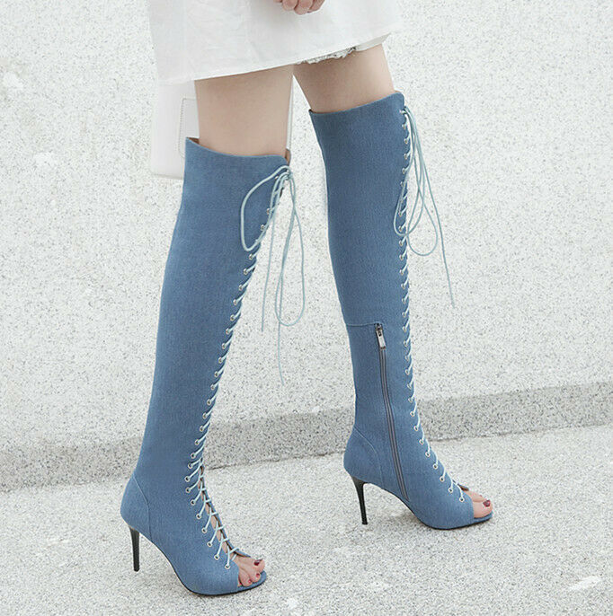 2019 Overknee Sandals Boots Summer High Heels Denim Peeptoe Lace Up Special Pump