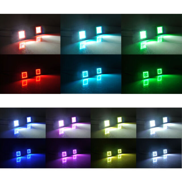 Pair 3'' LED Work Light Bar 3x3 Pod Cubes with MultiColor RGB HALO Nicolight Light Bar Wiring Harness on
