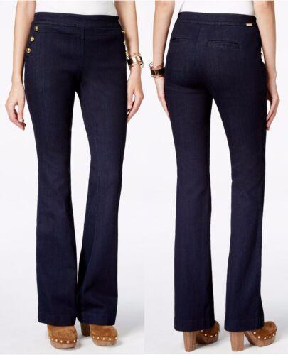$79.50 INC International Concepts Indigo Button-Trim Stretchy Denim Flare Jeans