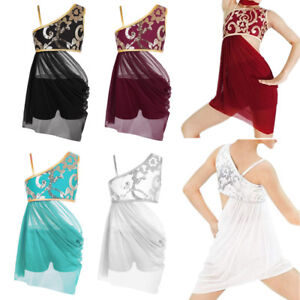 e15ecb9f8 Girls Lyrical Dress Kids Ballroom Modern Dancewear Party Sequin ...