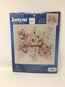 JanLynn-Cross-Stitch-Kit-Garden-Roses-Pink-Green-Counted-Stitchery-106-0057-NIP