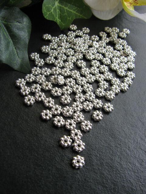 30 / 60 / 120 / 240 Daisy Spacer 4,5mm, silber, Zwischenperle Blümchen, Krone