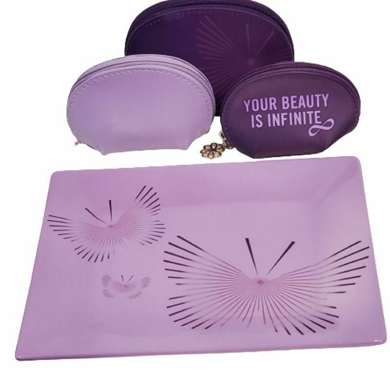Avon Domestic Violence Purple Nesting Bags (Set of 3) and Plate