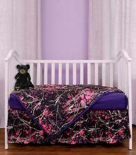 MUDDY GIRL CAMOUFLAGE BABY TODDLER CRIB BEDDING SHEET SKIRT BLANKET, PINK PURPLE