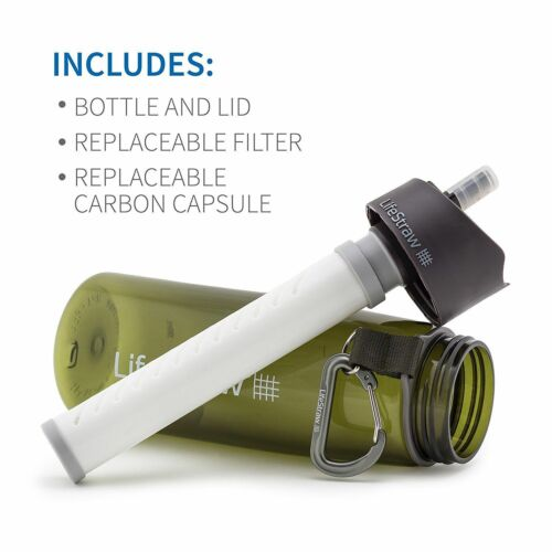 Green LifeStraw Go Personal Water Filter Bottle Purifier 2 Stage Filtration