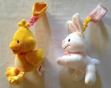 Fisher Price 2012 White Bunny Rabbit & Yellow Ducky Rattle Plush Stuffed EUC