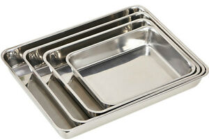 2xSTAINLESS-STEEL-BAKING-ROASTING-COOKING-TRAY-SET-BAKEWARE-OVEN-DISH-25-30cm
