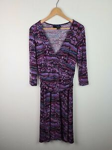 TOKITO-3-4-Sleeve-Purple-Ruched-Waist-Fit-amp-Flare-V-Neck-Dress-Women-039-s-Size-14