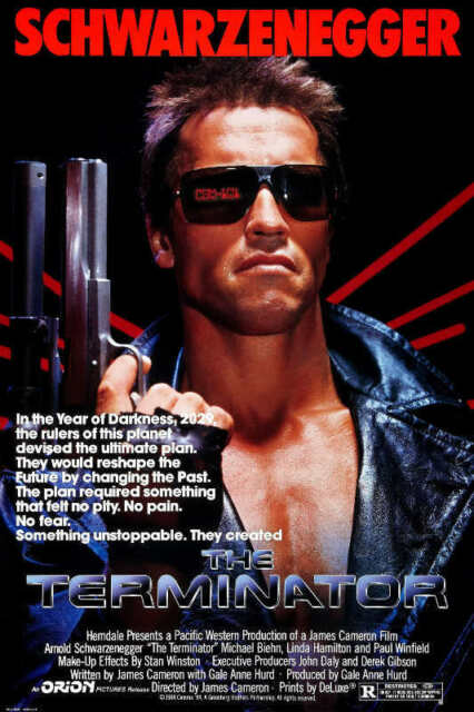 1984 THE TERMINATOR VINTAGE SCIENCE FICTION MOVIE POSTER PRINT 24x16 9 MIL PAPER