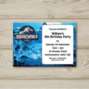 Image Is Loading 10 Personalised Birthday Party Invitations Jurassic World Dinosaurs