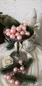 10 er Set Weihnachtskugel Glas  Altrosa Antik Christbaumschmuck shabby Vintage