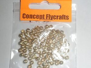 PACK-OF-50-GOLDHEAD-COUNTERSUNK-BRASS-BEADS-GOLD-FINISH-4mm-for-Fly-Tying