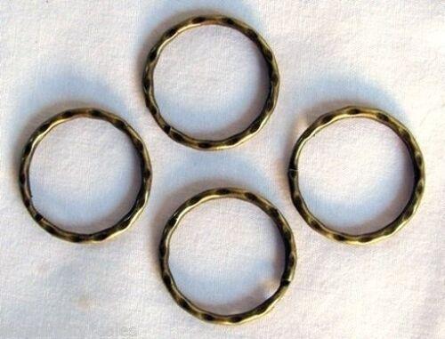 "25 KEY RINGS ~ 25-28mm 1/"" Split Ring ~ Hammered ~ ANTIQUE BRASS ~ SteamPunk"
