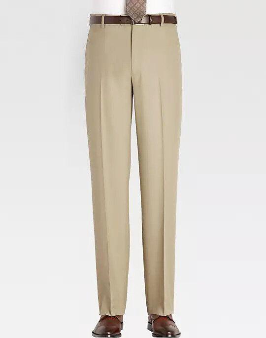 NWT - JOSEPH & FEISS Men's CLASSIC FIT Sand FLAT FRONT DRESS PANTS - 46