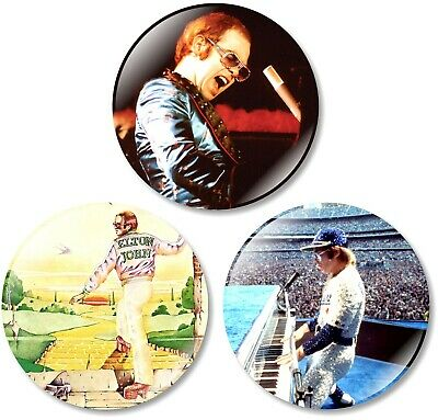 3 x Elton John Rocketman 32mm BUTTON PIN BADGES Movie Retro Yellow Brick Tour CD