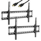 2 Flat TV bracket HDMI Wall Mount Tilt LCD Plasma LED 32 37 40 42 46 47 50 55 60
