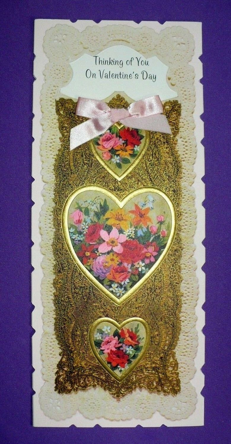 Vintage American Greetings Valentines Day Unused Card Hearts Pink