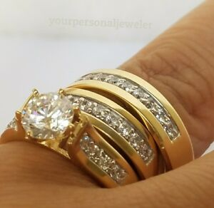 14k Solid Yellow Gold Trio His Hers Diamond Engagement Ring Bridal Wedding Band