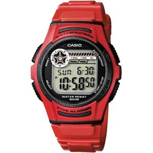 Casio-Uhr-W-213-4A-Herren-Damen-Digitaluhr-Armbanduhr-Rot-Schwarz-NEU-amp-OVP
