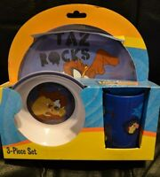 Looney Tunes Taz 3 Piece Set Plate Bowl Cup Melamine Kids Wb Tax Rocks -