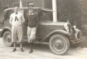 Milford-Connecticut-Man-Wearing-Arnold-College-Sweater-Ford-Car-Vtg-1929-Photo