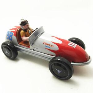Vintage-Wind-Up-Tin-Toy-Racing-Race-Car-Racer-Driver-Clockwork-Mechanical