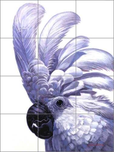 Ceramic Tile Mural Backsplash White Tropical Bird Cockatoo Wildlife Art JWA002