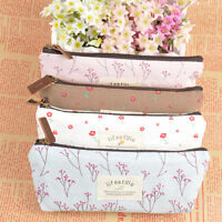 Useful Flower Floral Pencil Pen Case Cosmetic Makeup Bag Storage Pouch Purse New