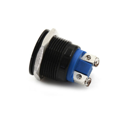 1PC 19mm waterproof black momentary metal push button switch flat top LF