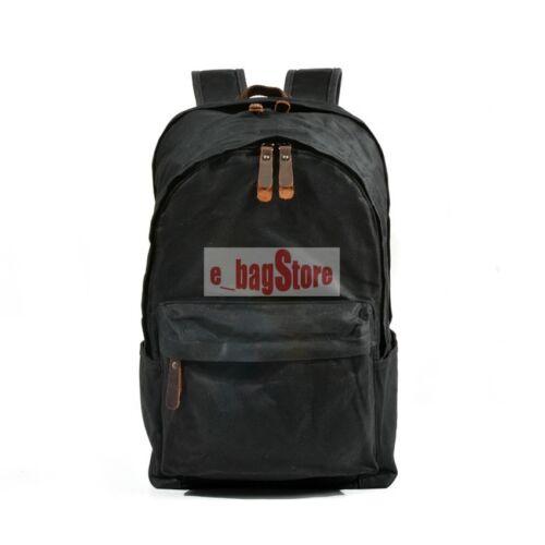 Vintage Men/'s Waterproof Canvas Leather Backpack School Laptop Book Bag Rucksack
