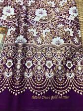Luxury Tradition Sarong Muslim Batik Gold Purple Floral Skirt Decor Wrap Women