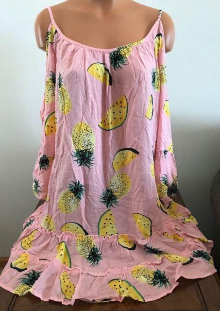 8ec46ceb9d8ad Solitaire Womens Medium M Cold Shoulder Swimsuit Swim Suit Cover Up Peach  Multi