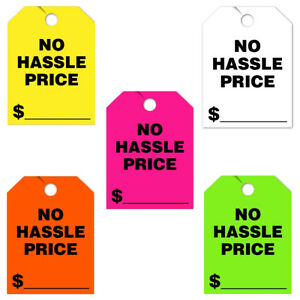 50-Pack-Jumbo-Car-Dealer-No-Hassle-Price-Mirror-Hang-Tags-You-Choose-Color