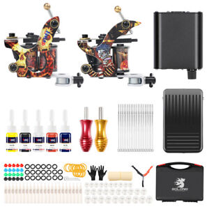 Complete Tattoo Machine NEW Coil Machine Kit Tattoo Ink Power Box ...