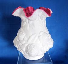 "Fenton Glass LG Wright Embossed Rose 8"" Vase Satin Milk Glass over Cranberry"