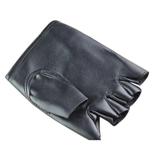 PU Leather Black Driving Motorcycle Biker Fingerless Gloves Men Women Gloves JH