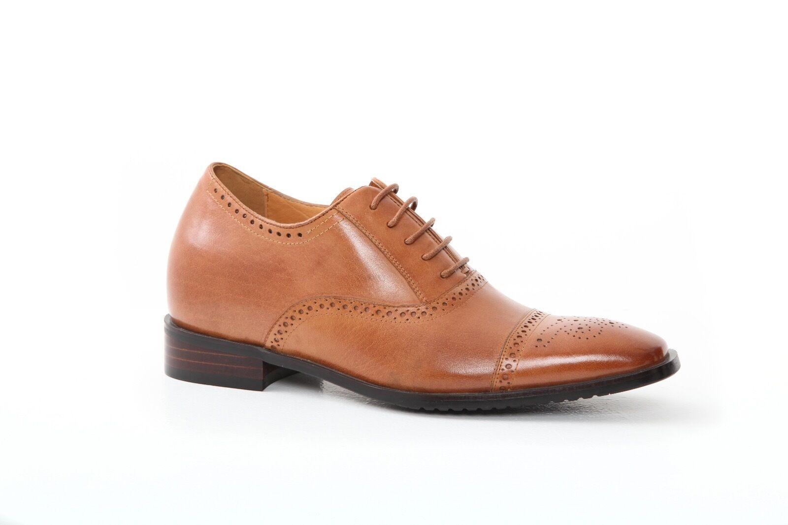 Para hombres zapatos tacón alto aumento de lo que aumenta levanta invisiblemente más alto Cuero Calado -