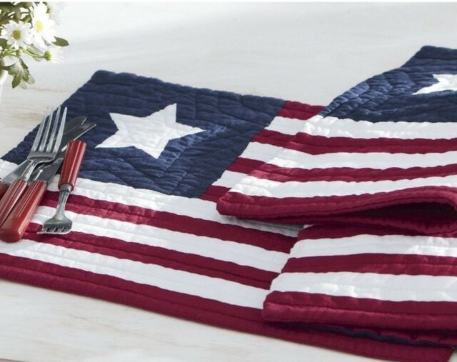 QUILTED RED WHITE BLUE PATRIOTIC TABLE LINEN RECTANGLE AMERICAN FLAG PLACEMAT