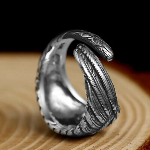 925 Sterling Silver Vintage Feather Wing Ring