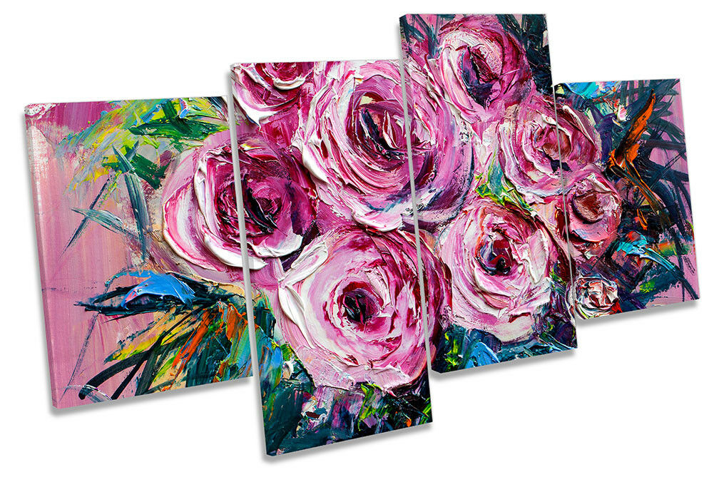 Rosa Floral Flowers Repro MULTI MULTI MULTI CANVAS WALL ARTWORK Print Art 822185