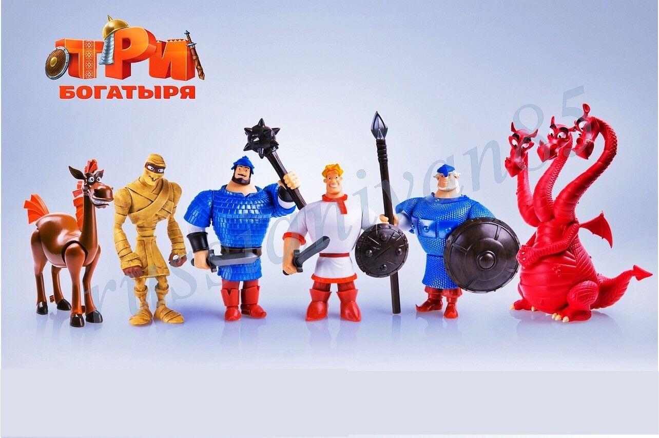 PROSTO toys. Tri bogatyrya. Three epic hero. Set of 6 figures. 3,5-4,5 inch.