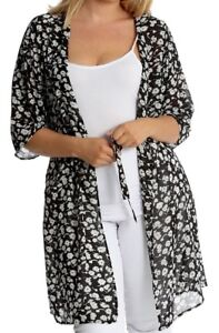 1b3642facac Ladies Womens Plus Size Floral Printed Belted 3 4 Sleeve Long ...