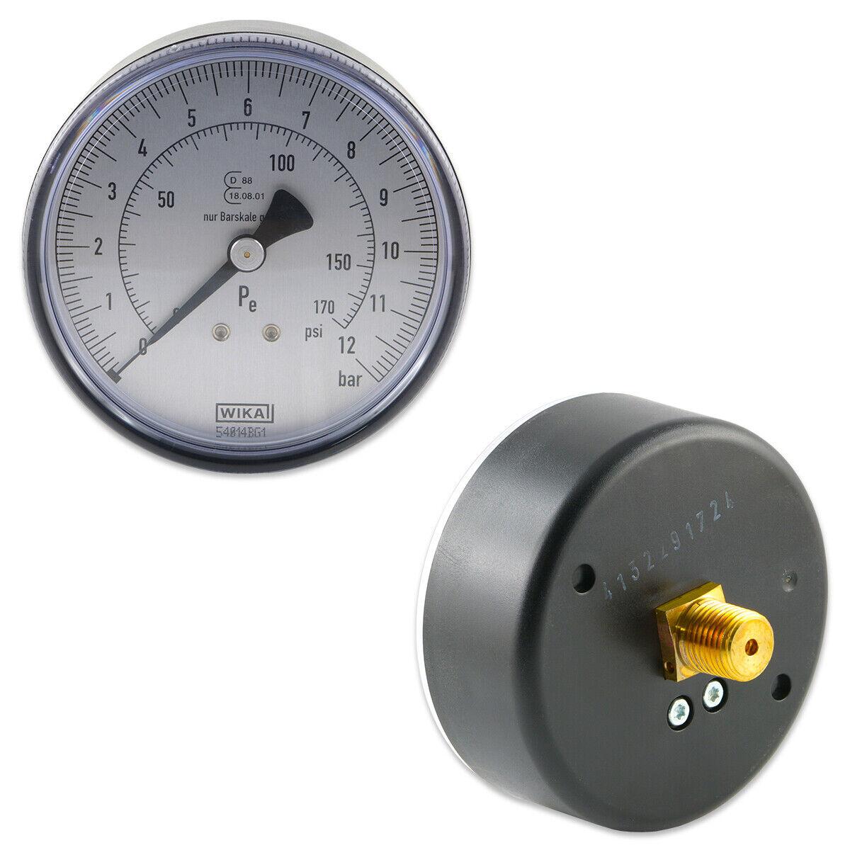 """Manometer für Reifenfüller 0 bis 12 bar R 1//4/"""" 80 mm Waagerecht Druckluft WIKA"""