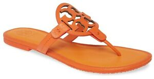 NEW-228-TORY-BURCH-10-5-Miller-Orange-TwoTone-Leather-T-Logo-Flat-SHOE-SANDALS
