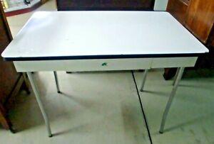 Farm-Enamel-Top-Metal-Table-with-Metal-Drawer-Vintage