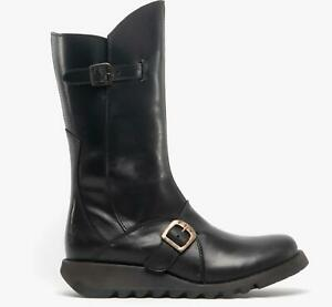 Fly-London-MES-2-Ladies-Womens-Leather-Zip-Up-Mid-Calf-Wedge-Heel-Boots-Black