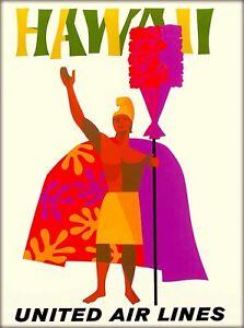 Hawaii Hawaiian King United States Airlines Vintage Travel Ad Art Poster Print