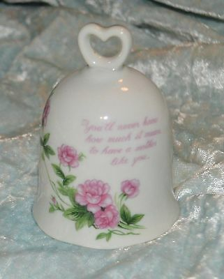 Lefton China Bell Hand Painted 02687 Mother's Day Bell White with Pink