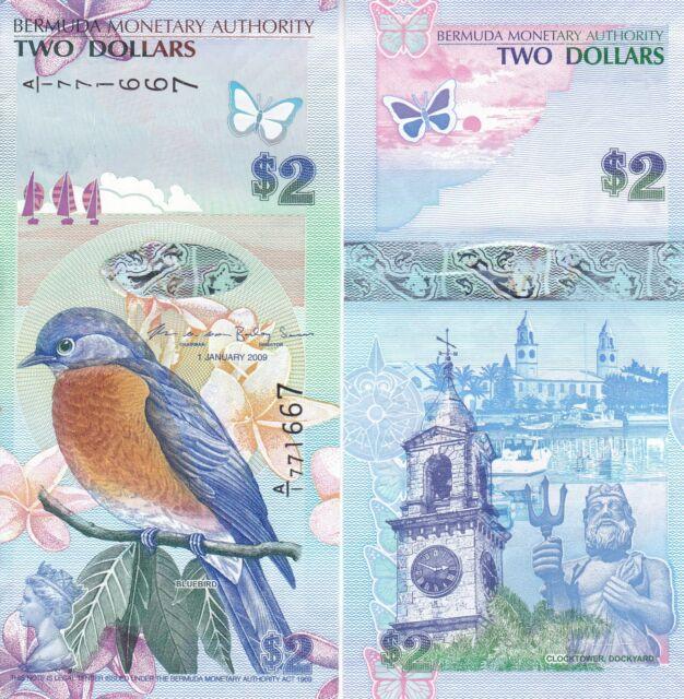 "Bermuda Banknote 2 Dollars 2009 UNC Prefix /""A//1/"""
