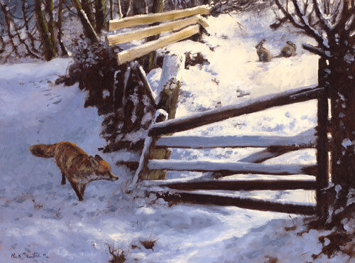 C405X Fox in the Snow Christmas cards pack of 10 by Mick Cawston